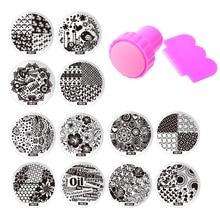 60 Ontwerpen OM 10 Stks Nail Platen + 1 Stamper 1 Schraper Rvs Stempelkommen Set Template Image Nail Art Stample gereedschap
