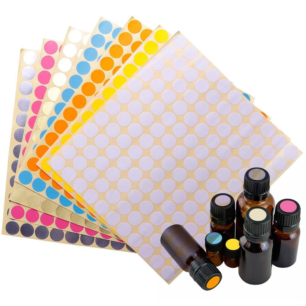 132 uds/hoja de colorido adhesivo para papeles vacío para vidrio aceite esencial tapa de la botella etiquetas conectores vacíos redondos etiquetas de círculos #281572