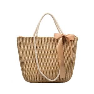 New Women Fashion Ribbon Straw Bag INS Popular Summer Female Beach Handbag Lady Casual Weave Shoulder Bag Large Knit Tote SS3367