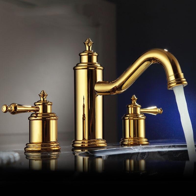 El mejor grifo de lavabo de baño de lujo de latón dorado con doble manija con tres agujeros, grifo mezclador de lavabo de alta calidad