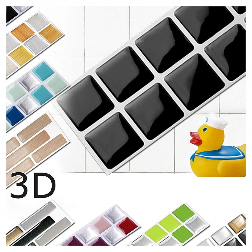 Vivid tiles 6 листов черные самоклеющиеся гладкие виниловые обои для декора поверхности 3D пилинг и палочка квадратная мозаичная плитка