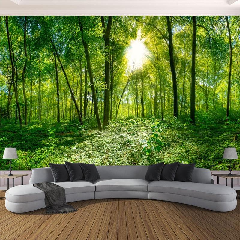 3D фотообои на заказ, объемные стереоскопические объемные зеленые лесные деревья, натуральный пейзаж, Большие Настенные обои для гостиной, современные
