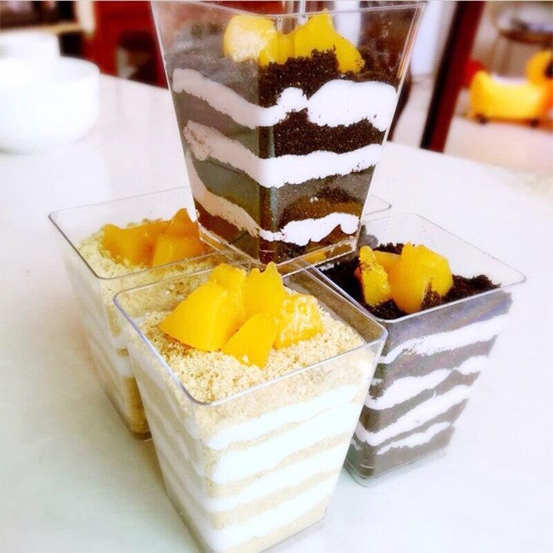 50 pçs 60ml mousse sobremesa copos de plástico copo de comida para bolo sobremesa cubo festival decoração do casamento bolo geléia pudim tiramisu