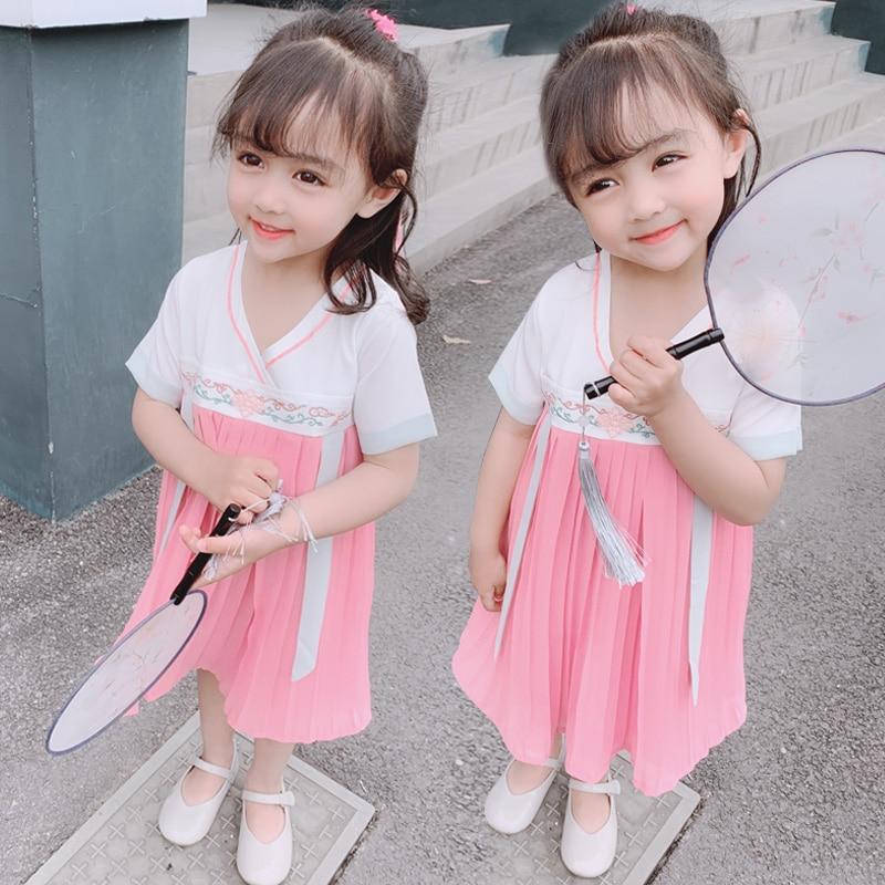 Meninas cosplay hanfu chinês vestido tradicional para as crianças dolbok chinês hanfu tang dinastia hanfu dalam tv festival outfit