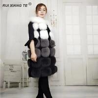 women real fur coat natural fox fur vest o neck high quality female gilet real fox fur vest with rabbit fur ruixiangte
