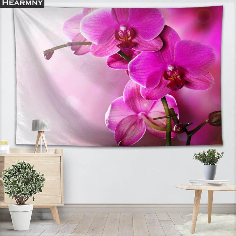 Orquídea Flores de fundo Saia de Tecido Tapeçaria Da Suspensão De Parede Personalizado sala de Estar Quarto Cobertor Yoga Toalha de Praia Toalha