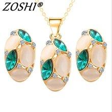 ZOSHI Luxus Österreichischen Kristall Opal Blume Anhänger Schmuck Sets Gold Farbe Afrikanische Perlen Frauen Erklärung Halskette Ohrringe Set