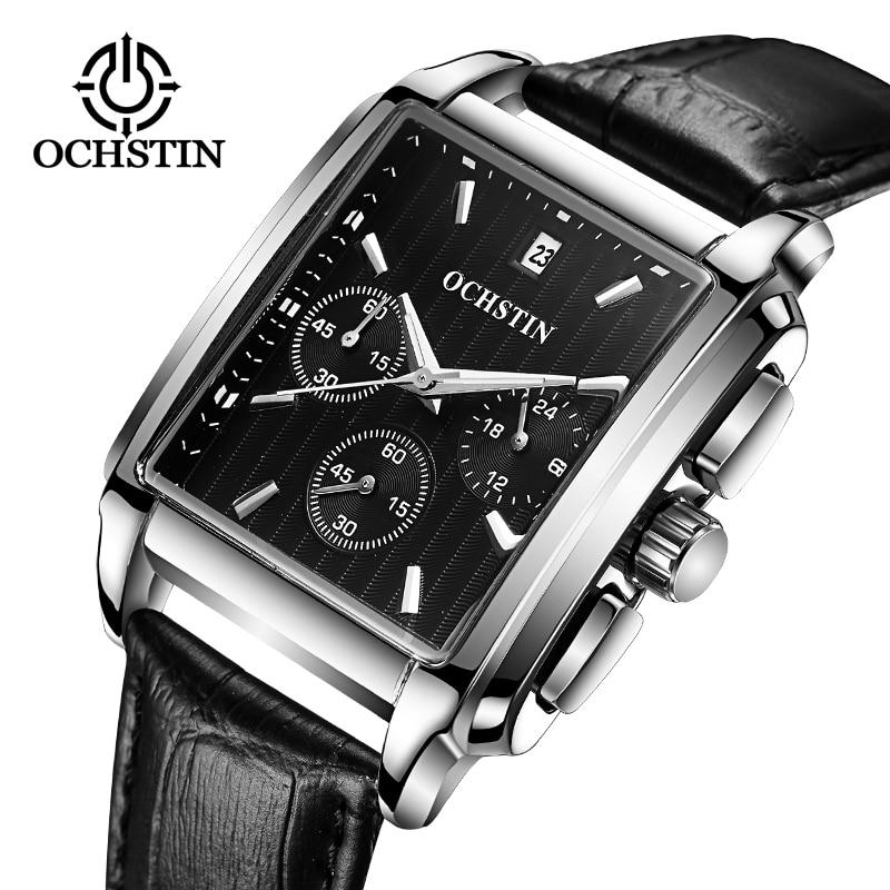 OCHSTIN 2019 Men Square Quartz Black Watch Luxury Brand Business Wriswatch Male Leather Strap chronograph Analog Clock relogio