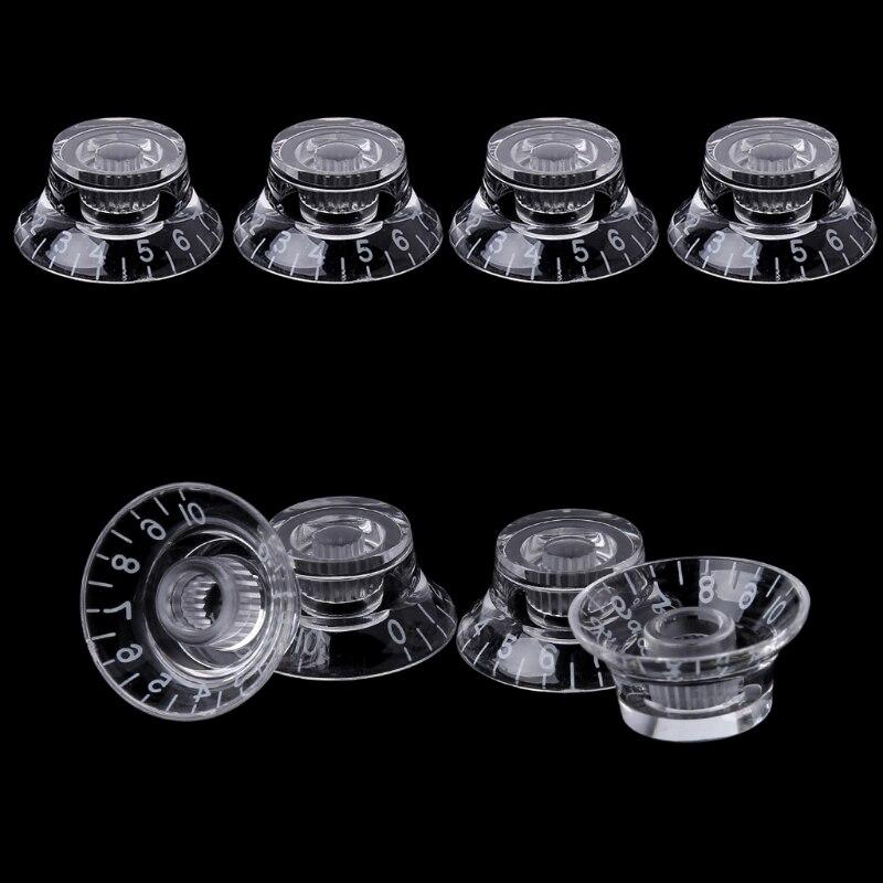 1pc Knob Button Bell Shape Guitar Tone Volume Control For LP Guitar Parts Transparent White