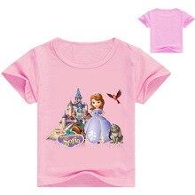 الصيف صوفيا الأميرة ملابس فتاة الملابس طباعة الكرتون قميص الطفلات جديد الأولاد كوتون قميص نمط عارضة الأعلى