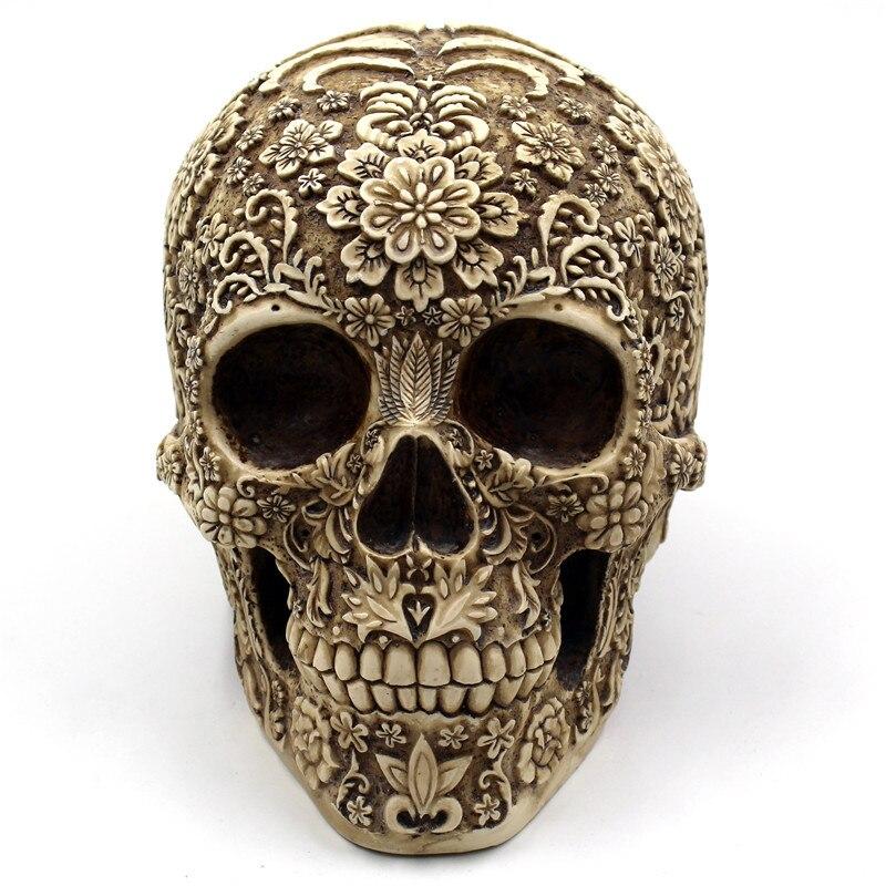 BUF estatuas artesanales de cráneo de resina y esculturas estatuas de jardín esculturas adornos de calavera Arte Creativo tallado estatua