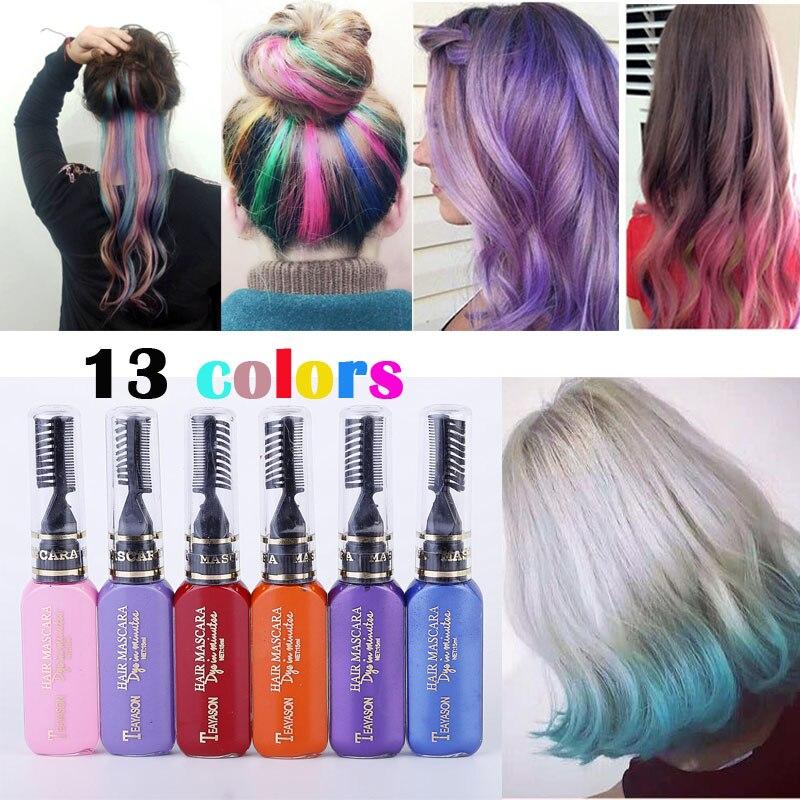 Одноразовая краска для волос 13 видов цветов, временная Нетоксичная краска для волос «сделай сам», тушь для ресниц, кремовая, синяя, серая, фиолетовая