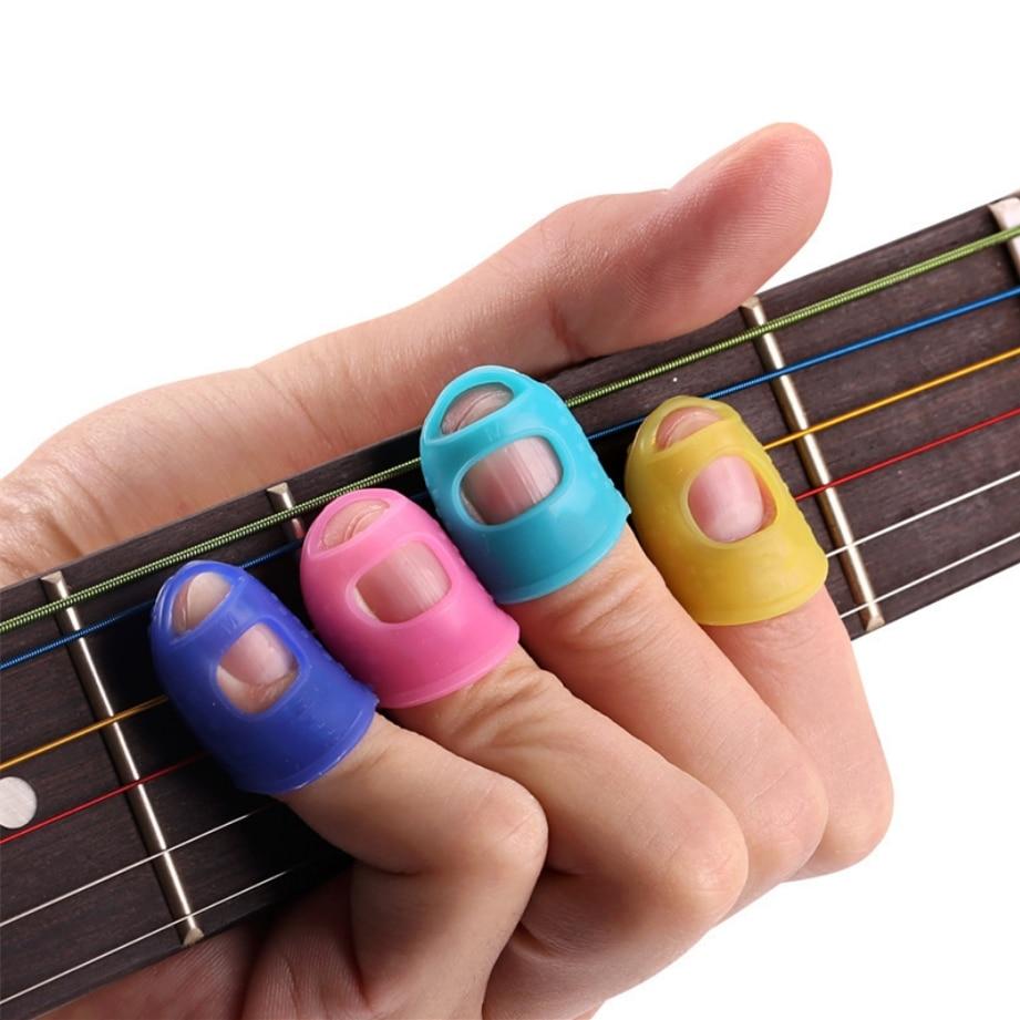 4 unids/set de protectores de dedos de silicona para Guitarra y Guitarra, protectores de dedos para ukelele, Guitarra de Color aleatorio