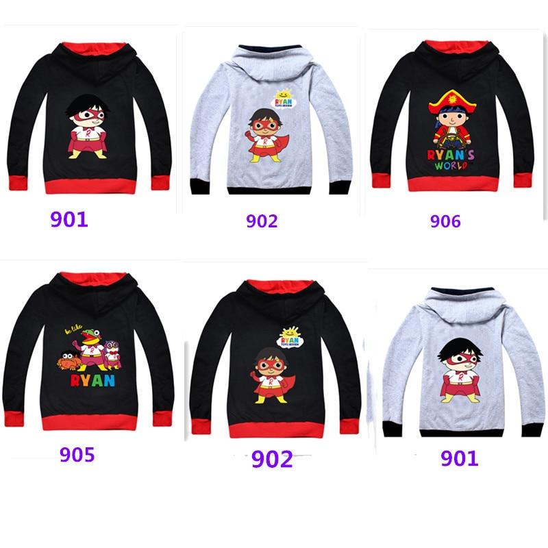 Футболка Ryan Toys Review, детская черная куртка на молнии, серая одежда, рубашка с единорогом на весну-осень, Рождественская рубашка, От 5 до 14 лет, т...