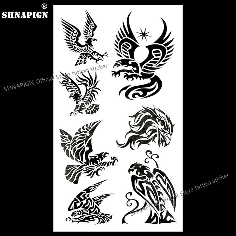 SHNAPIGN Airforce ejército negro Hawk tatuaje temporal arte corporal brazo Flash tatuaje pegatinas 17*10cm impermeable Henna falso sin dolor