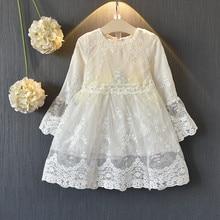 Teenmiro 2020 Spring Girls Vintage Lace Dress Kids Long Sleeve Ivory Silver Gowns Child Princess Clothing Vestido Infantil 3-8Y