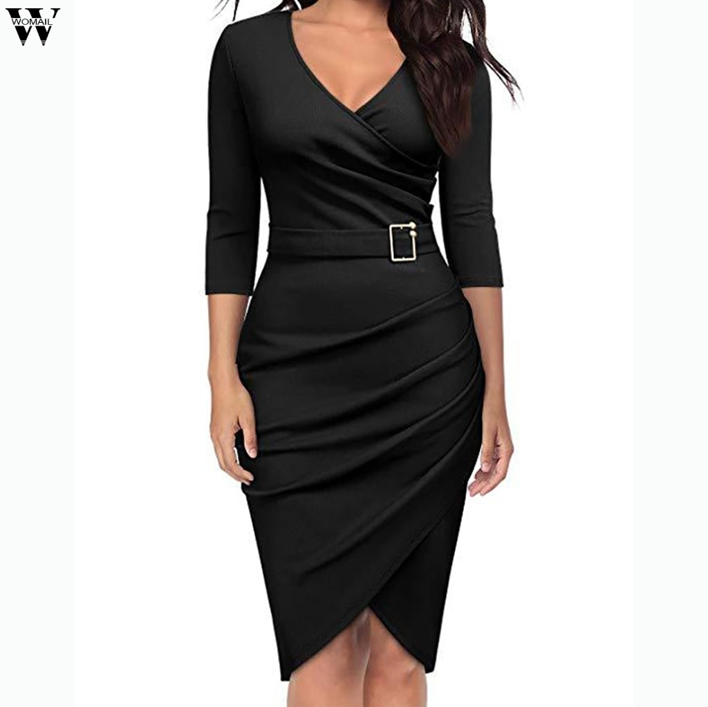 Autumn Dress 2018 Women Casual Elegant Office Dresses Female Sexy V-Neck Knee-Length Burgundy Dress Dec10