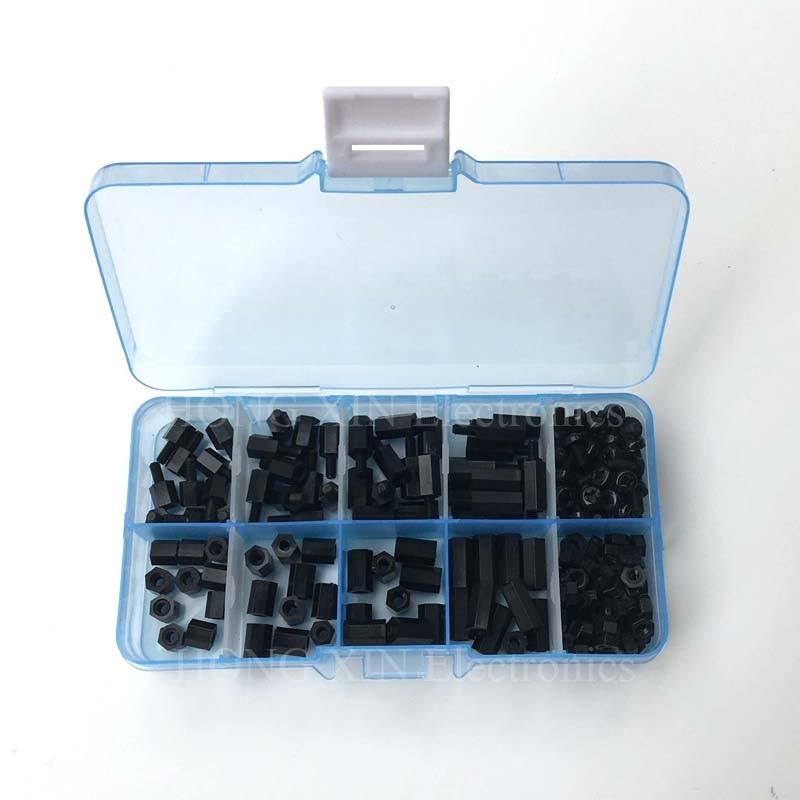 Colonne despacement en Nylon hexagonal   180 pièces par lot M2 M2.5 M3 femelle mâle, colonne despacement pour carte mère de PCB, jeu de vis despacement fixes en plastique