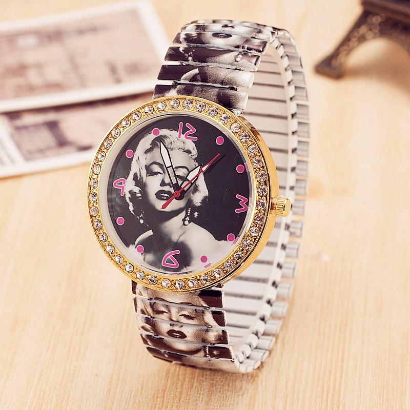 Unique Super Star Marilyn Monroe Print Female Watch Elastic Strap Crystal Watches for Women Relogio Feminino