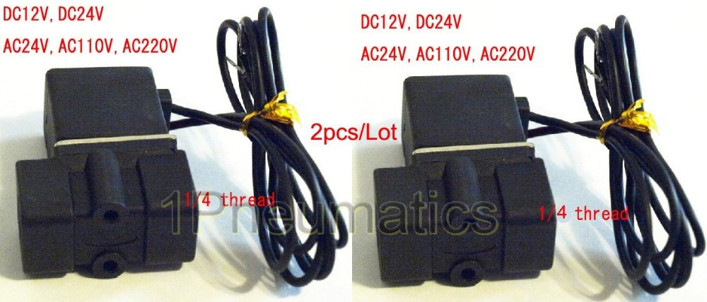 """Válvula de solenoide de plástico 1/4 """"0 ~ 0.8MPa-5 ~ 80C DC12V válvula en miniatura, 2 unids/lote 2P025-08, Envío Gratis"""