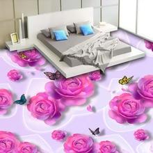 Papier peint Photo 3D personnalisé   Autocollant Mural de sol en PVC, Roses Roses papillon, mode chambre, imperméable