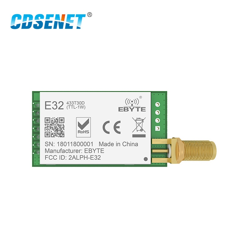 SX1278 LoRa 433 MHz 30dBm 1W puerto Serial transceptor E32-433T30D SMA de largo alcance 433 MHz transmisor y receptor rf