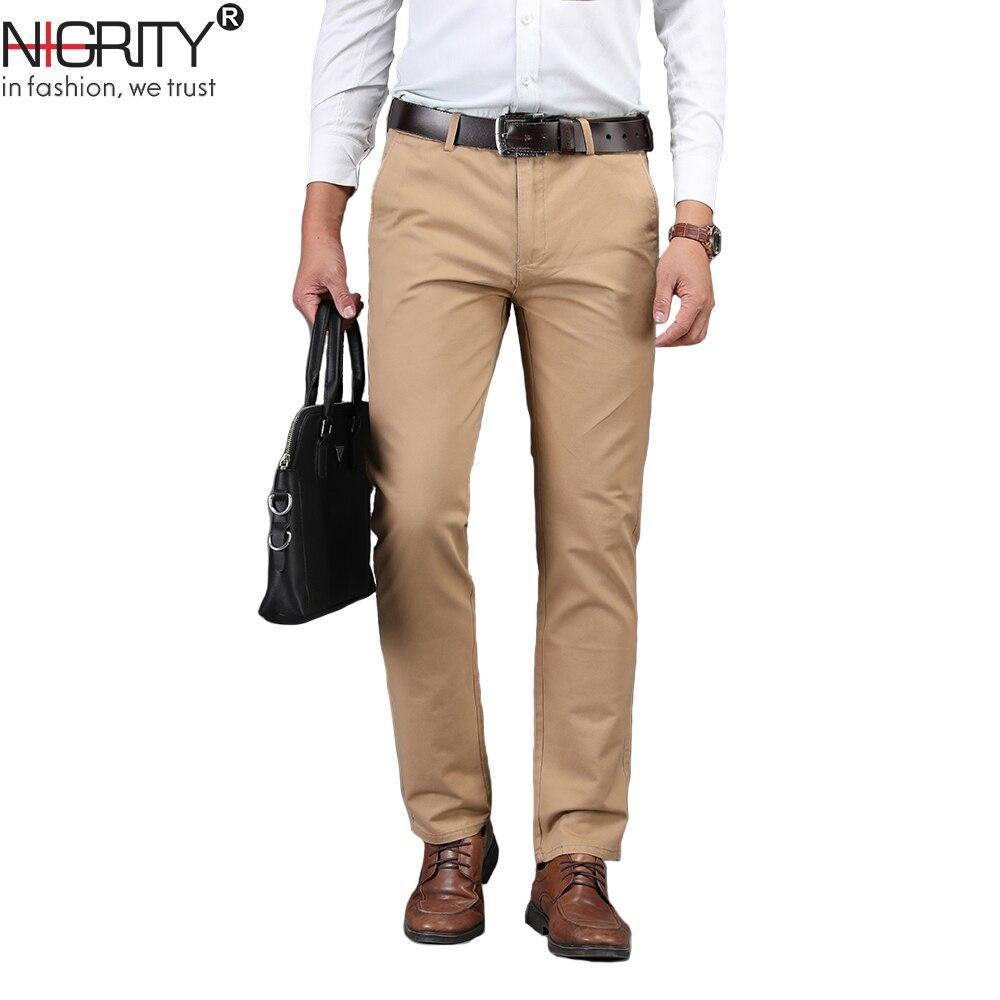 Ninew novo negócio dos homens calça casual moda calças em linha reta elástico tecido básico clássico masculino moda tamanho 29-42