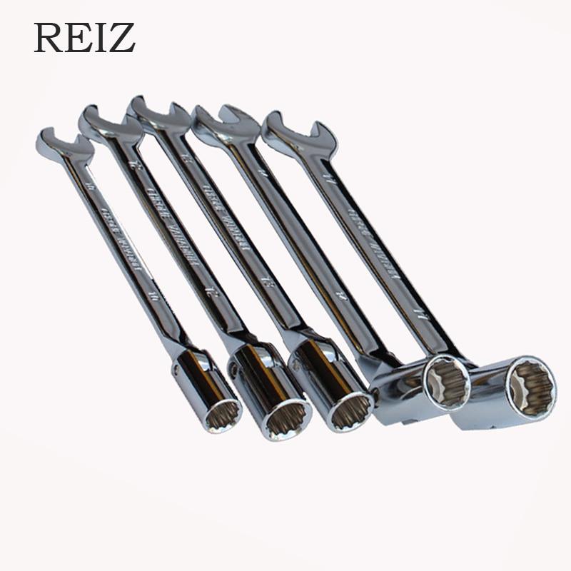 REIZ, juego de llaves de tubo, trinquete de combinación métrica de 8-15mm, juego de llaves de extremo abierto, herramienta de mano Universal CR-V