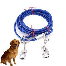 3M de Fio De Aço Corda de Reboque Cabo Com Cabeças Duplas de Metal Ganchos Chumbo Leash Strap Para Pequeno Grande Cão de Estimação Gato для собак