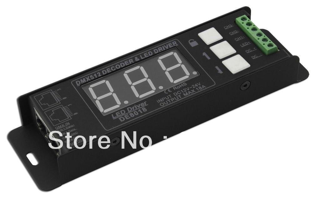 Envío Gratis DMX pwm decodificador y RGB controlador 3 canales RGB controlador DC12-24V única, voltaje constante CH salida <6A DE8018
