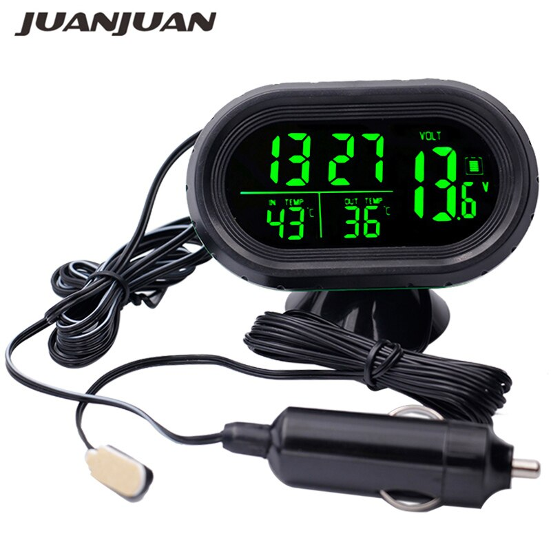 DC12V -24V 4 in 1 Time Date Dual Temperature Auto Digital Car Thermometer Voltage Meter Monitor Lumi