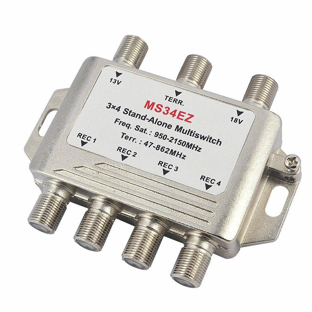 Divisor multiconmutador de satélite MS34EZ 3x4 FTA LNB TV interruptor en cascada satélite 3 en 4 Out MultiSwitch para Smatv DVB-S2 DVB-T2