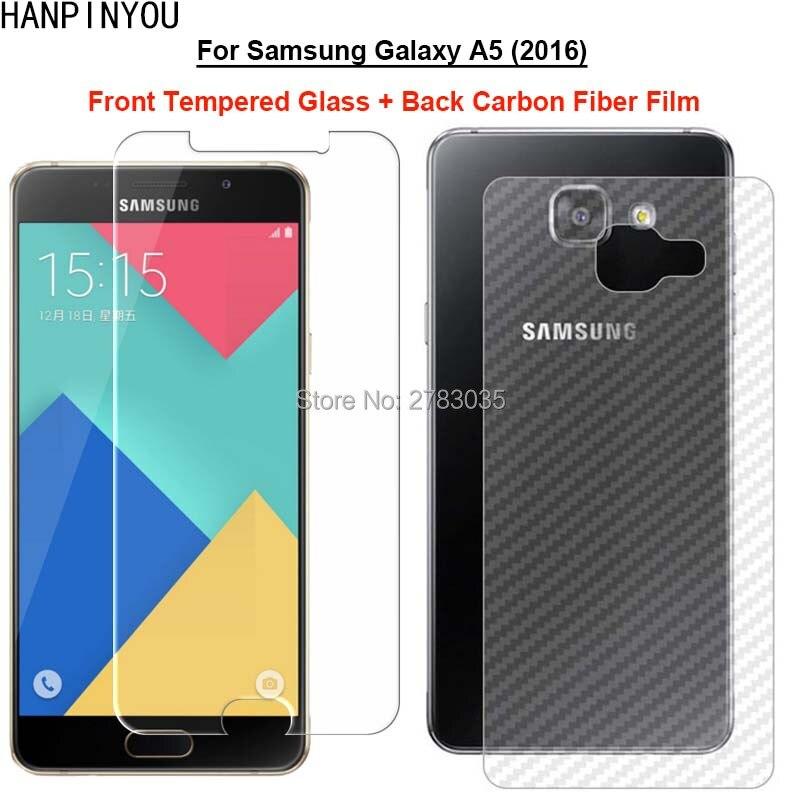 Para Samsung Galaxy A5 2016 a510 1 Set = película de fibra de carbono trasera suave + Protector de pantalla frontal de vidrio templado Premium Ultra delgado