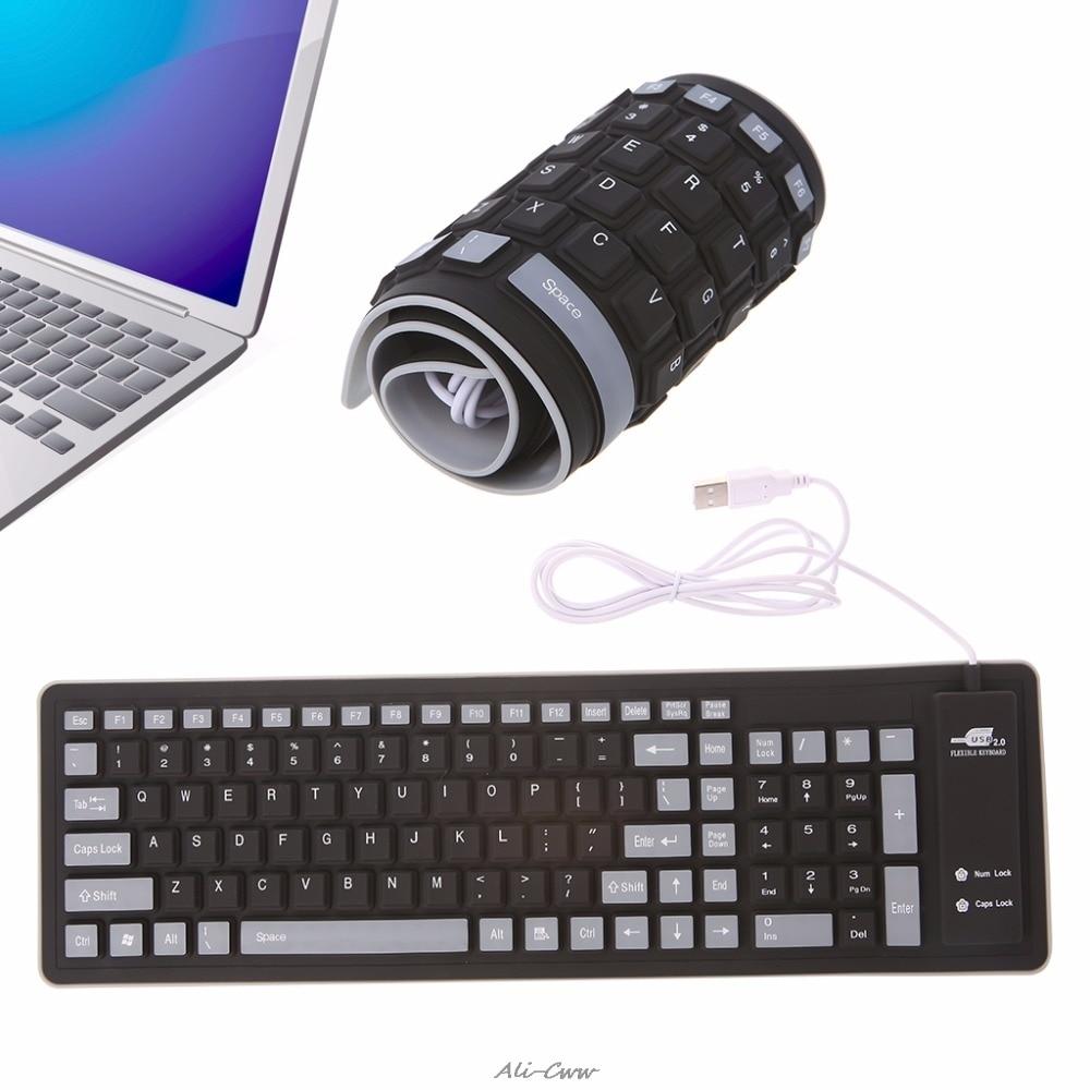 Teclado plegable resistente al agua con cable USB, teclado suave de silicona de 103 teclas para PC, portátil, tableta