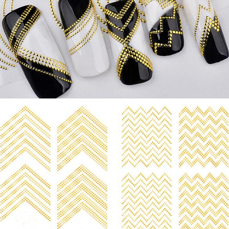 1 hoja de papel de Metal Vintage Etiqueta de líneas de rayas de puntos pegatinas de uñas calcomanías adhesivas cinta de rayas pegatinas decoraciones de uñas