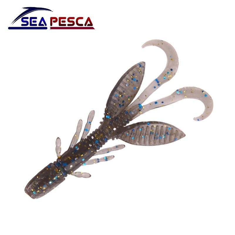 SEAPESCA 12 unids/lote señuelo suave de camarón cebos suaves 55mm 1,4g cebo artificial Señuelos de Pesca de silicona pesca ZB79