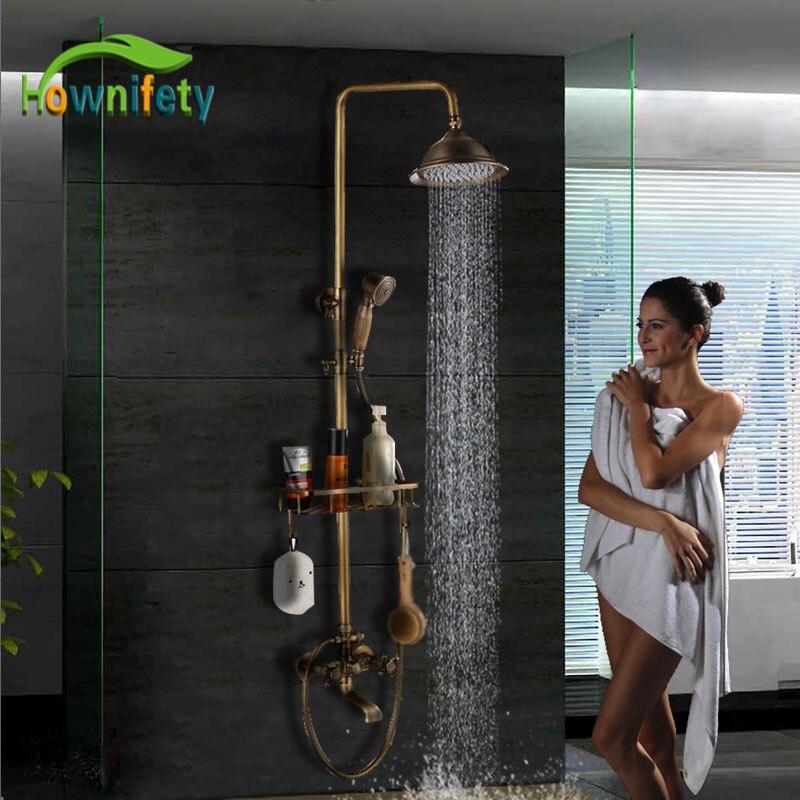 """Bronze antigo popular conjunto de chuveiro torneira do banheiro 8 """"cabeça de chuveiro quente & fria sistema de chuveiro mixer torneira do banheiro fixado na parede"""