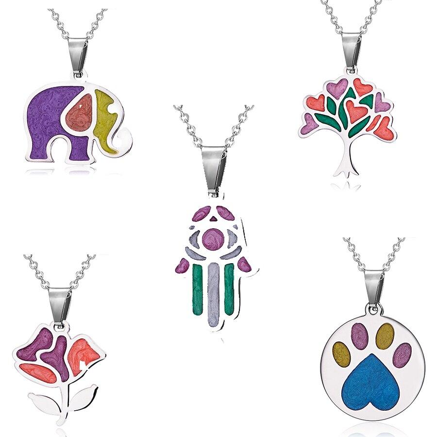Nuevas huellas de garra de perro de acero inoxidable esmalte Hamsa árbol flor Animal elefante joyería collares y colgantes regalos de navidad