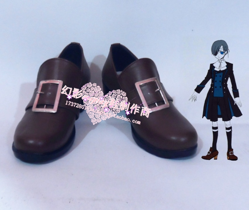Black Butler Ciel Phantomhive Cosplay Marrom Sapatos H016