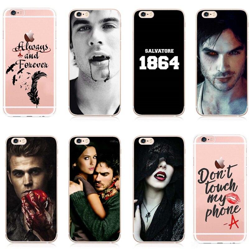 El vampiro diarios 8 teléfono transparente caja del teléfono funda para iPhone 5 y 5s SE 6 6s 6Plus 7 7 Capa duro plasti caso vampiro historias de Horror