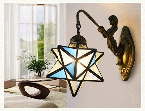 Estilo tiffany do vintage led e27 ferro forjado sereia com sombra de vidro fosco arandela lâmpada parede para iluminação quarto cabeceira