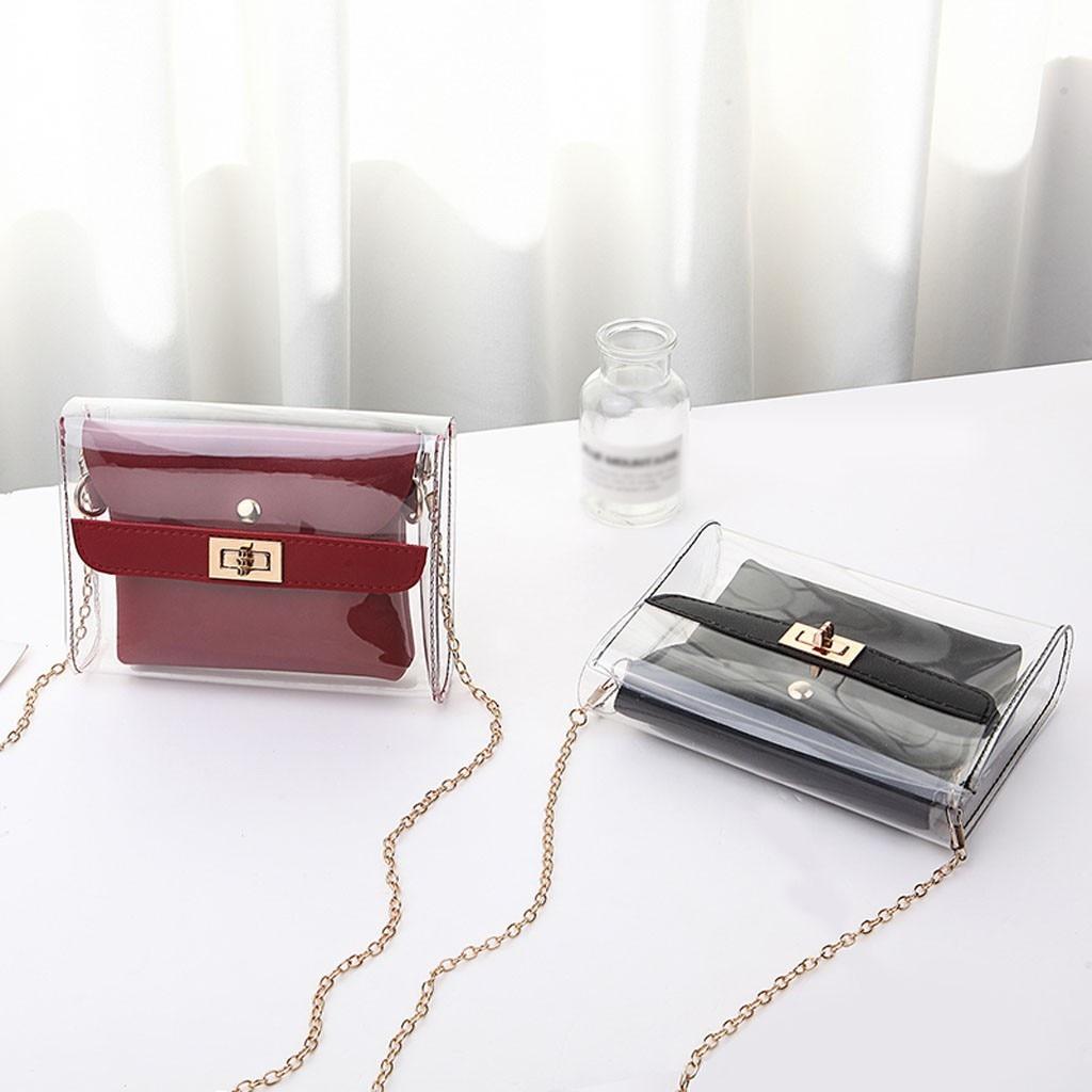נשים אופנה ליידי הכתפיים ג לי חבילה מכתב ארנק טלפון נייד שליח תיק גברת ברור שקוף ג לי חבילה # YY