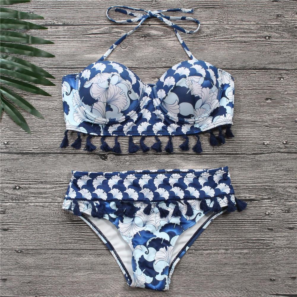 Bikinis Women Blue Bandage Swimsuit 2018 Sexy Push Up Swimwear Print Fringe Bikini Beach Bathing Suit Halter Bikinis Suit Swim