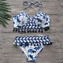 Bikinis femmes bleu Bandage maillot de bain 2018 Sexy Push Up maillots de bain imprimer frange Bikini plage maillot de bain licou Bikinis costume natation
