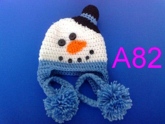 Frete grátis, 60 peças/lote-Adorável chapéu Do Boneco de neve, crochet chapéu Do Bebê 100% algodão Crianças EarFlap Gorros Caps Criança Crochet Chapéus