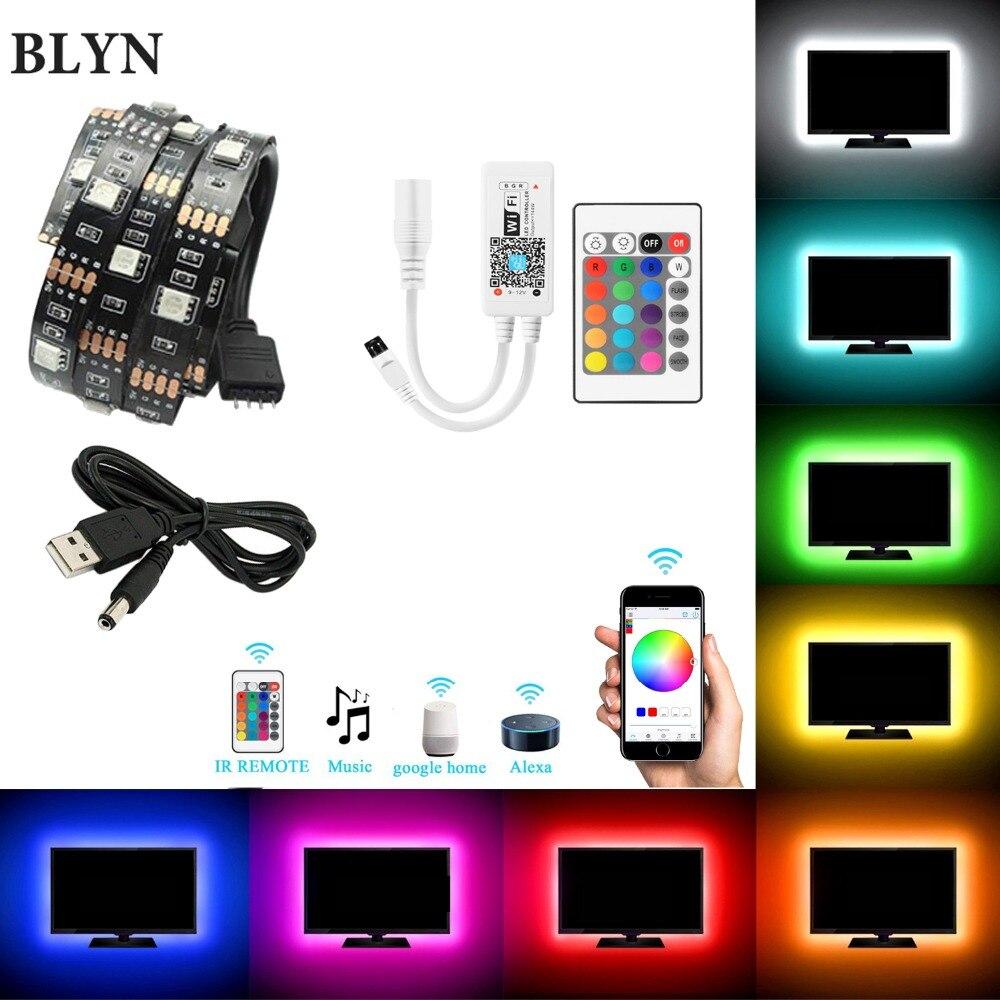 5 v usb led strip 5050 rgb tv fundo iluminação fita 1 m 2 m 5 m tv luz wifi controle remoto sincronização com som alexa google casa