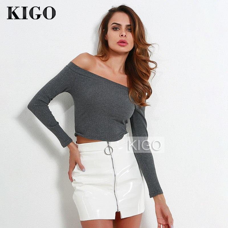 KIGO 2018 verano mujeres Sexy fuera del hombro Tops de manga larga Casual alta calle mujeres blusa mujer Boho señoras Tops KH1566H