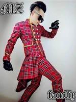 plus size new 2021 dj mens brand fashion scottish red plaid stage male suits men singer costume suit top clothing jacket coats