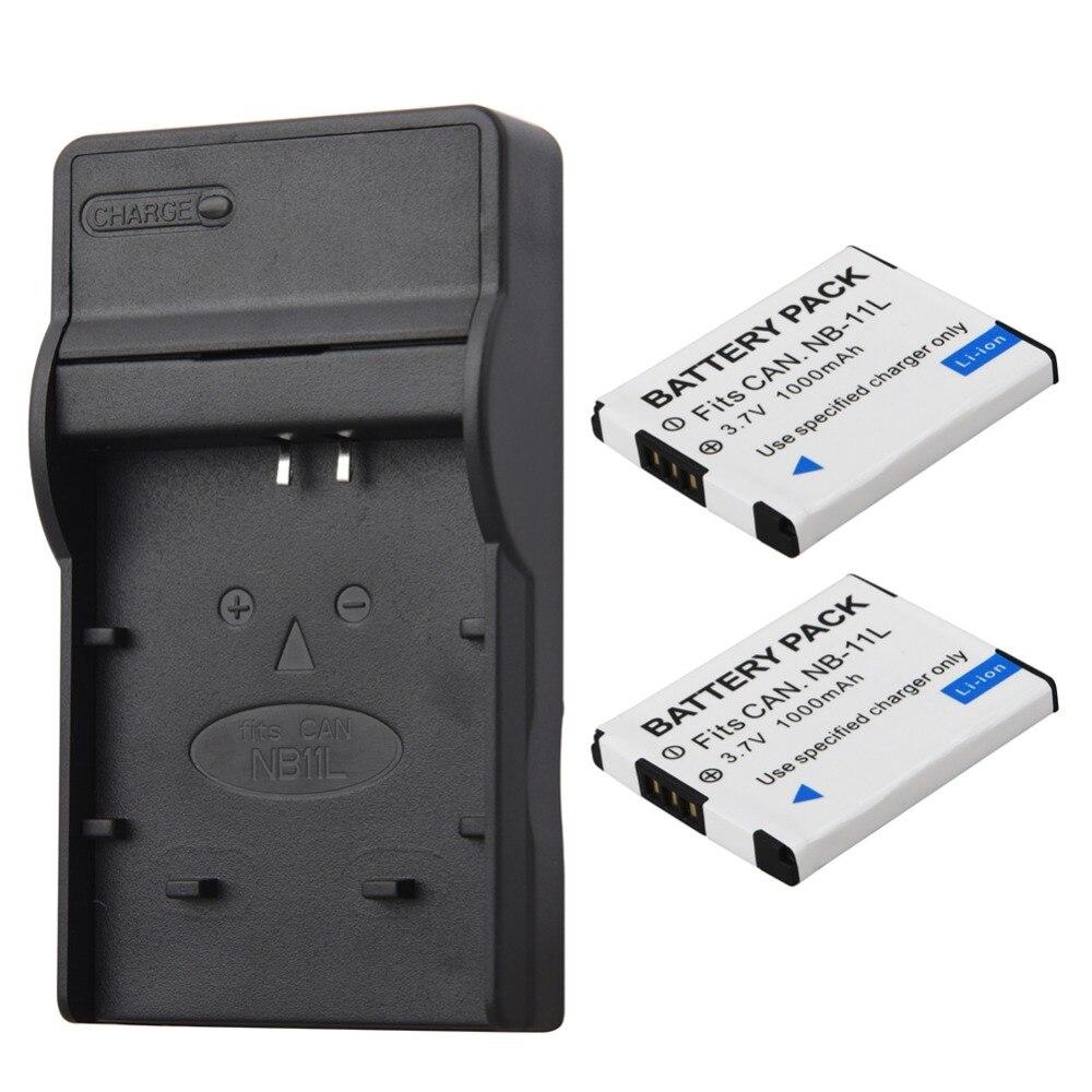 2 Pcs 1000 mAh Bateria NB-11L NB 11L NB11L Bateria Com Carregador Para Canon A2600 A3500 A4000IS IXUS 125 132 140 240 245 265 155 HS