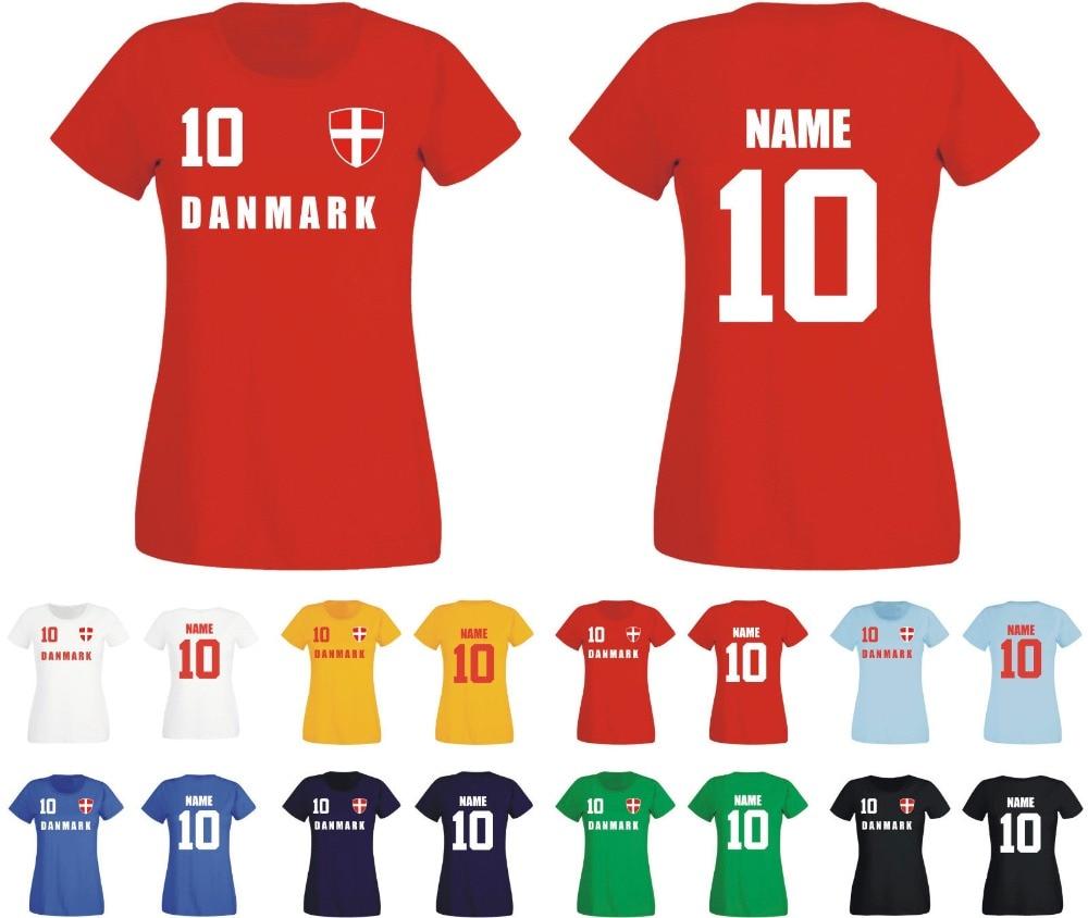 Camiseta Danemark Damen Trikot nombre del Equipo & NR Druck Fubball 2019 fútbol Soccers camiseta